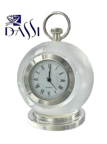 Orologio in cristallo e argento 925 a mappamondo