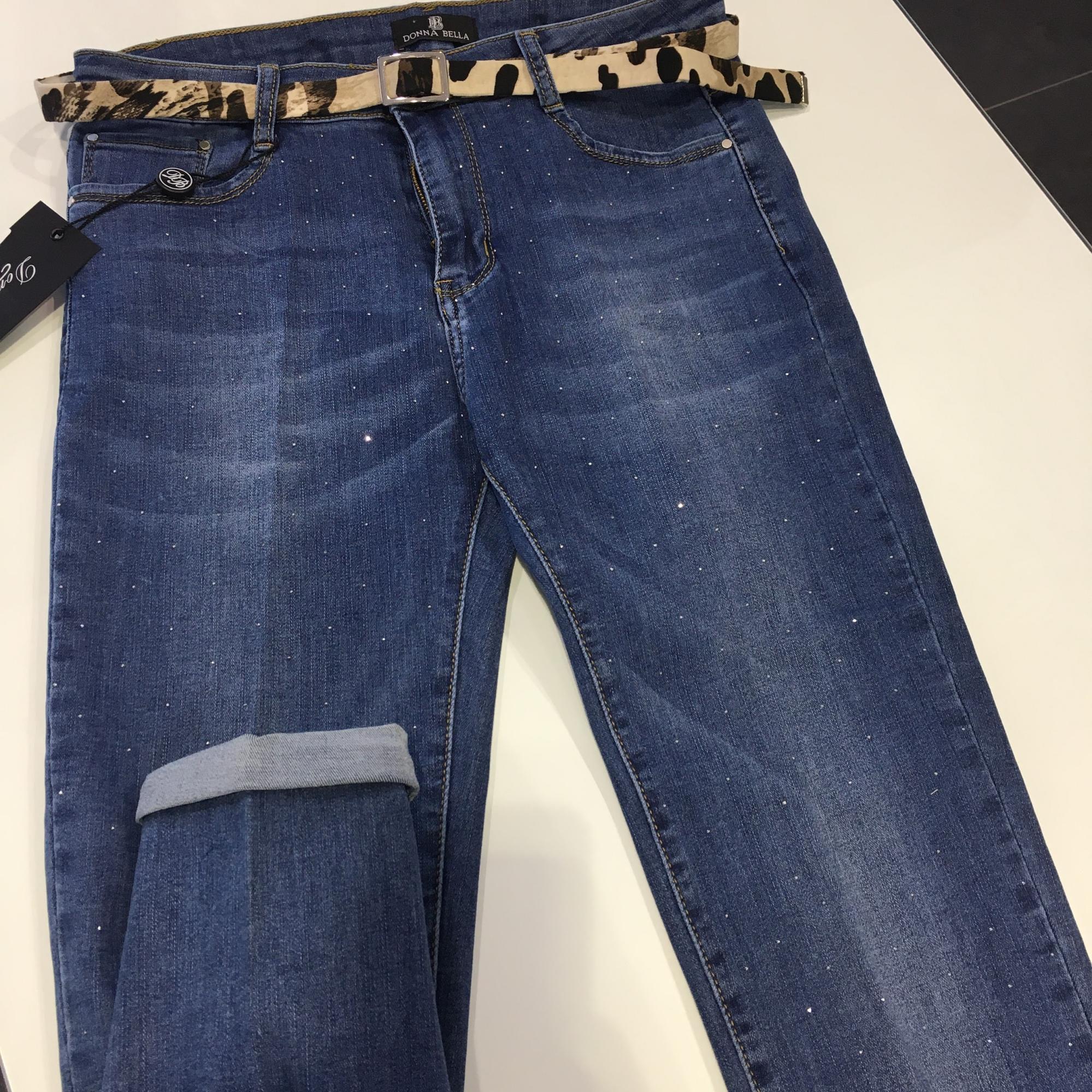 Jeans denim strass donna vita alta