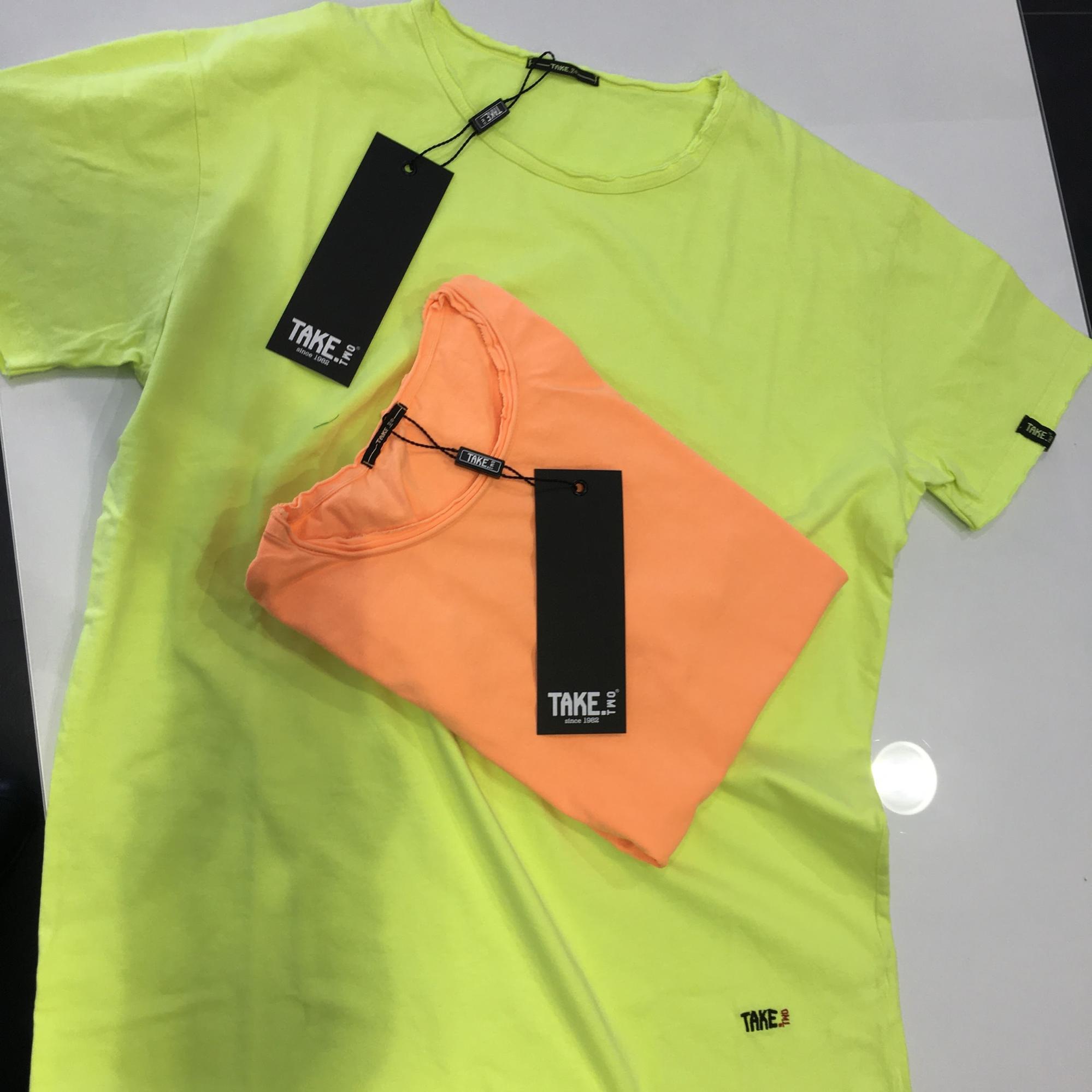 T-shirt fluo giallo e arancione take two uomo