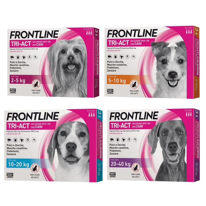 Frontile tri-act spot on per Cani di peso tra 2-5  kg 3 fiale x 2 ml