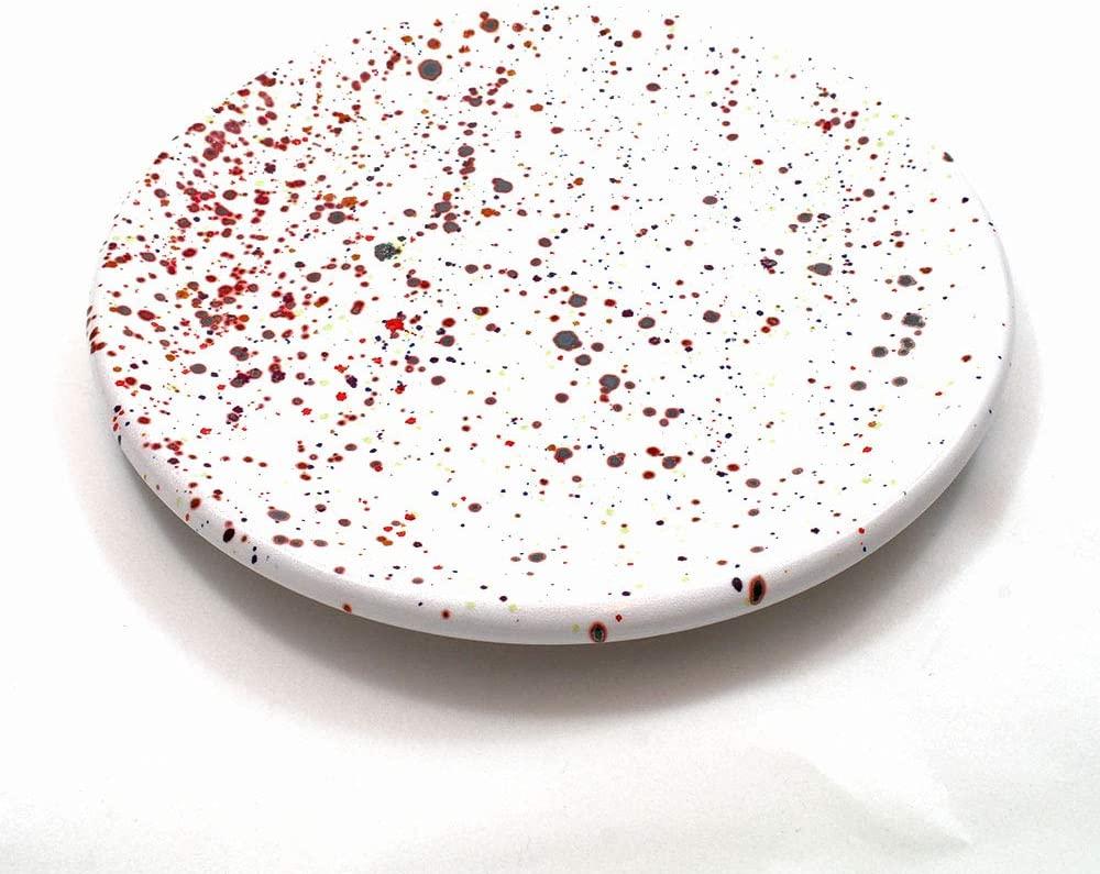Piatto Piano in Ceramica di Faenza con Schizzi di Colori Collezione Pois