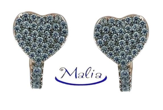 Orecchini a cerchio in argento 925 rosè o bianco con cuore con pavè di zirconi