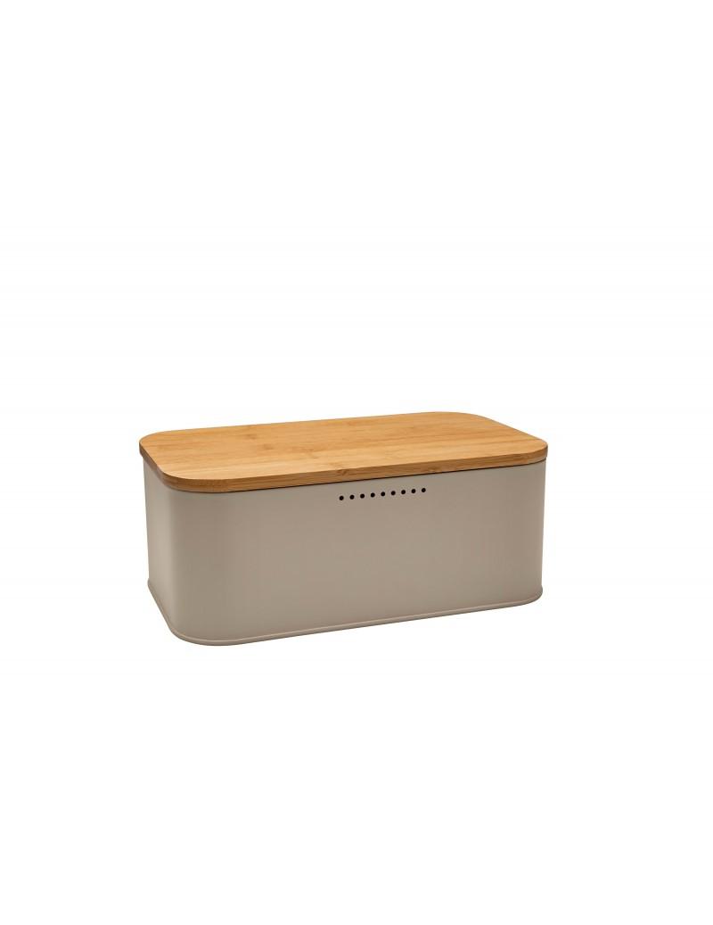 Scatola porta pane in metallo con coperchio in legno