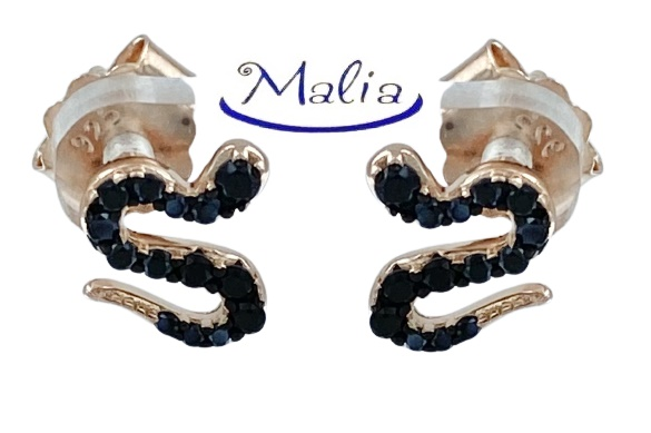 Orecchini a lobo in argento 925 rosè o bianco a forma di serpente con zirconi