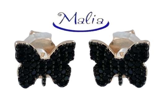 Orecchini a lobo in argento 925 rosè a forma di farfalla con pavè di zirconi neri