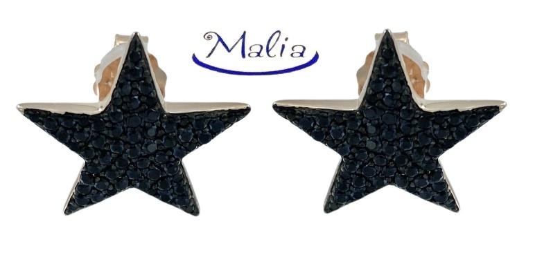 Orecchini a lobo in argento 925 rosè o bianco a forma di stella con pavè di zirconi