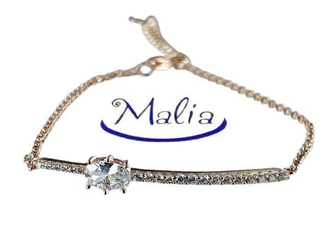 Bracciale in argento 925 rosè o argento con barretta con un grosso zircone bianco