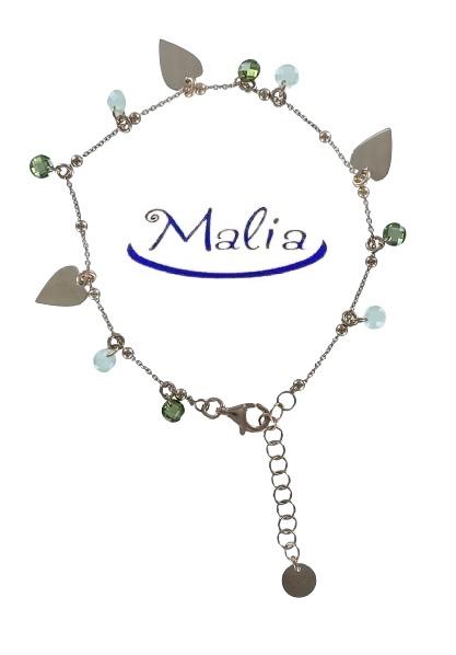 Bracciale in argento rosè composto con ciondoli a stella o a cuore