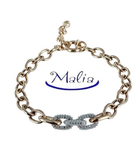Bracciale in argento rosè con catena rolò con al centro maglie ovali