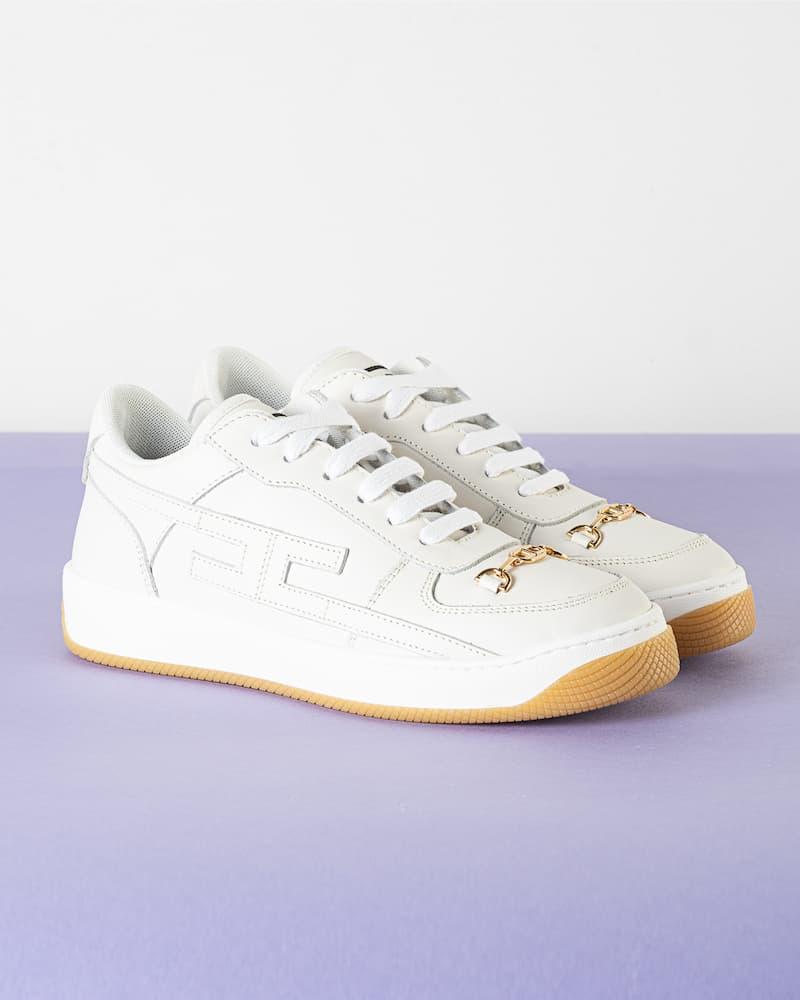 Sneakers Elisabetta Franchi in Pelle con Morsetto SS21