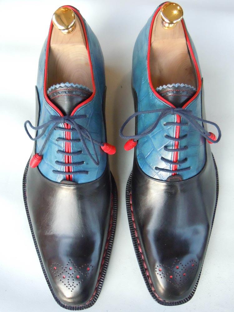 Calzatura uomo Oxford Half-Brogue in vitello bi-colore nero/blu