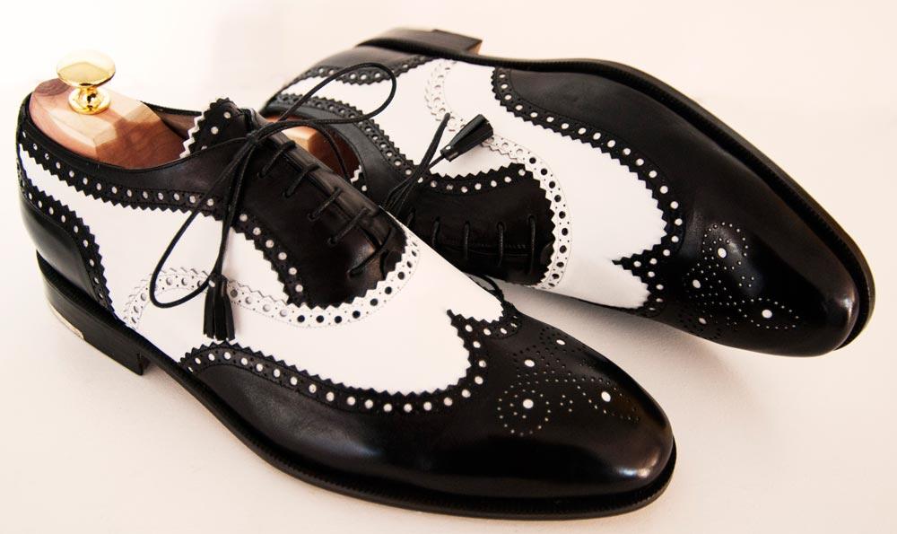 Calzatura uomo Oxford FullBrogue in vitello bicolore nero/bianco