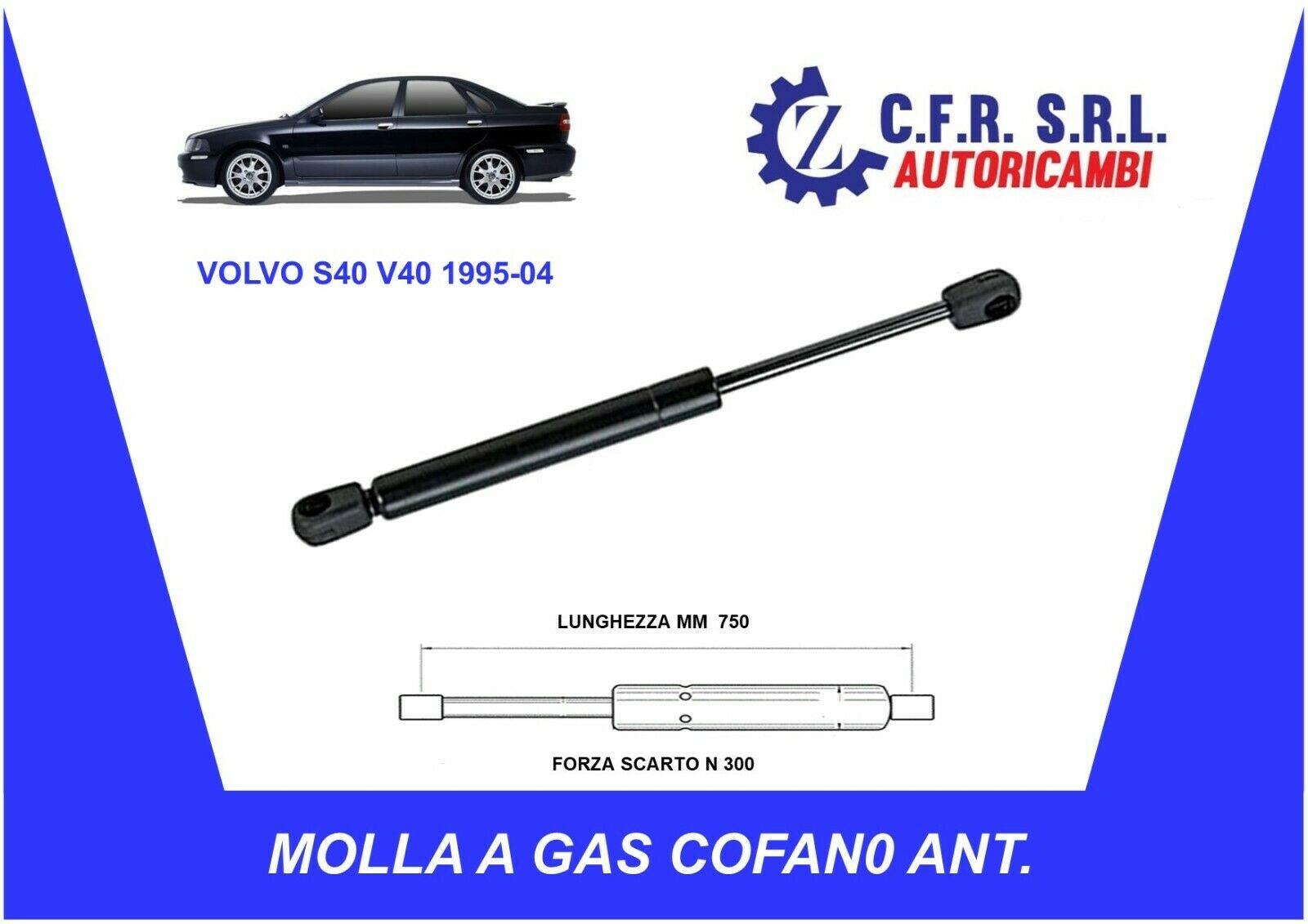 MOLLA A GAS AMMORTIZZATORE PISTONCINI COFANO ANTERIORE PER VOLVO S40 V40 1995-2004