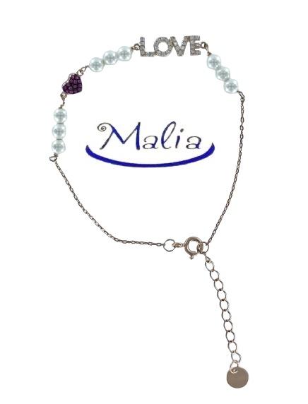 """Bracciale in argento  rosè coon 9 perle e la parola  """"love"""""""