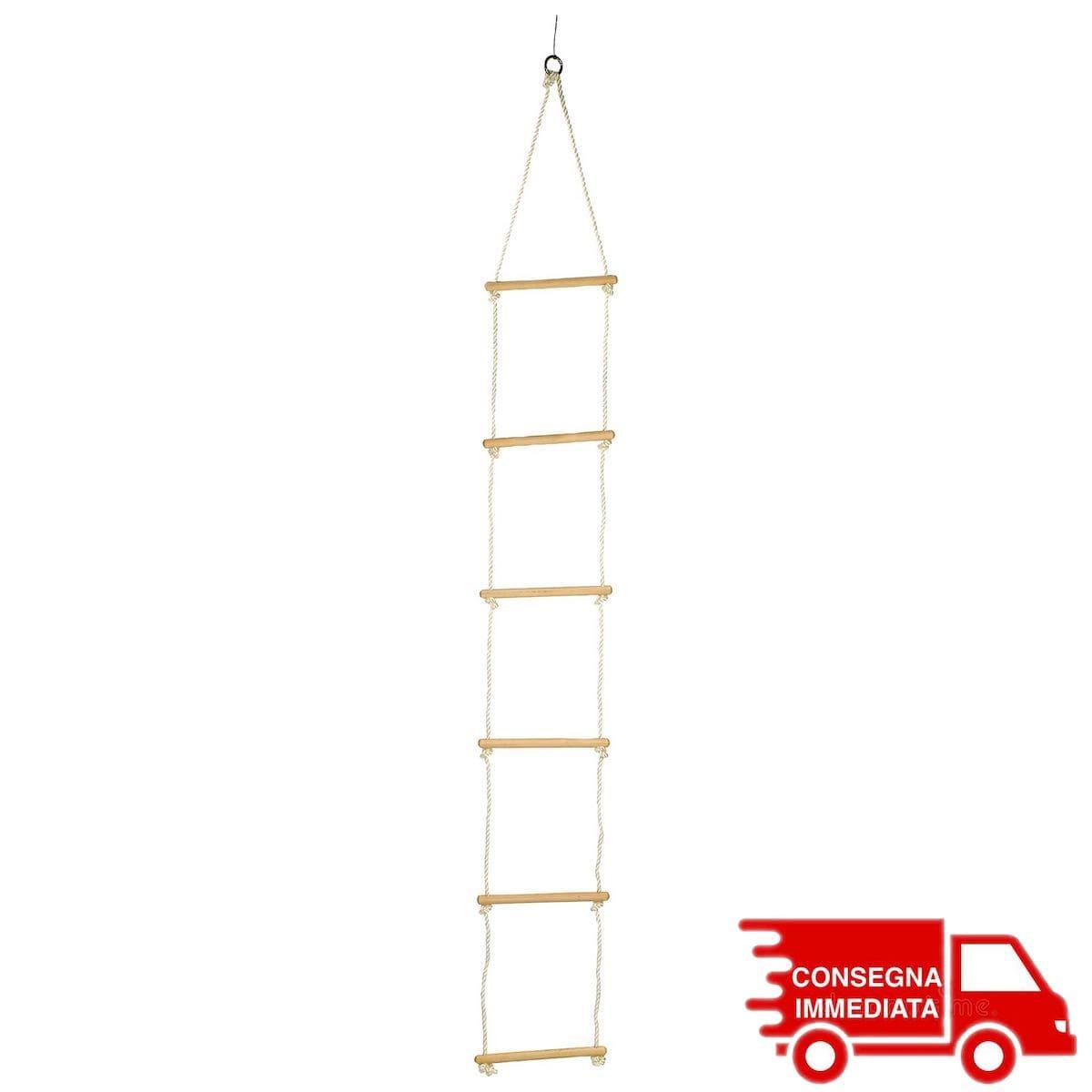 Scala di corda in legno gioco bambini larghezza 30 cm
