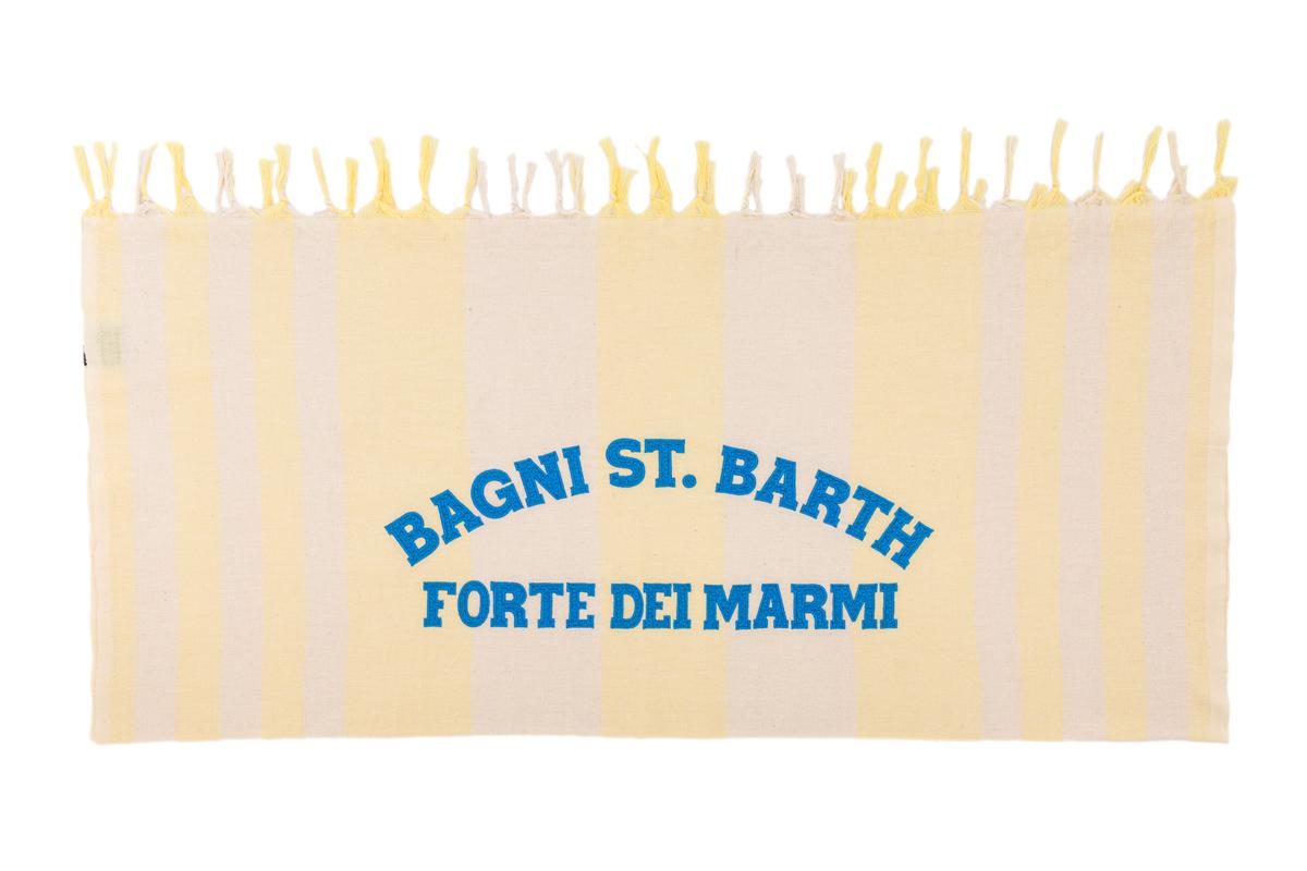 Telo Mare St. Barth Rigato Bianco Giallo Ricamo Azzurro Forte dei Marmi