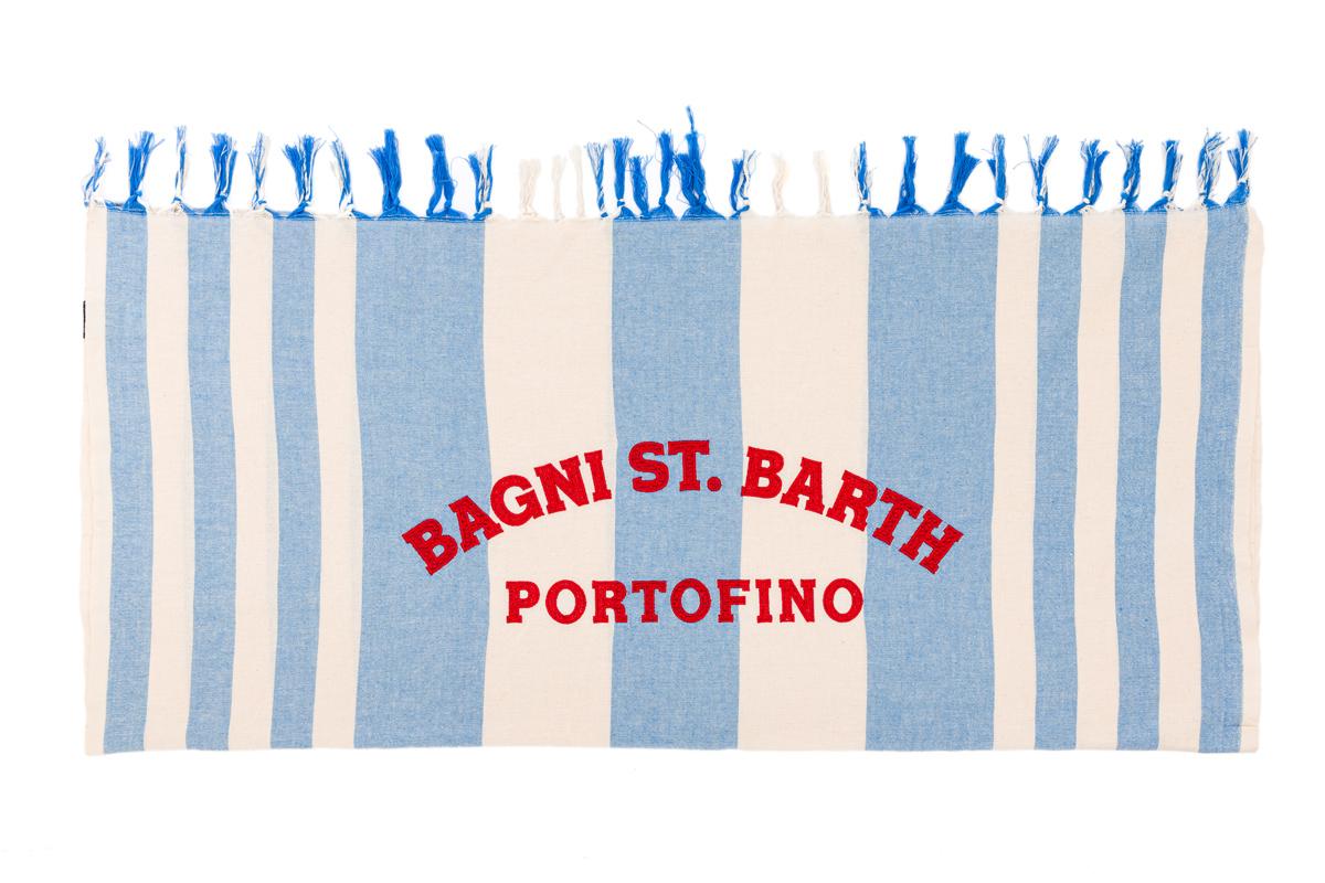Telo Mare St. Barth Rigato Bianco Azzurro Ricamo Rosso Portofino