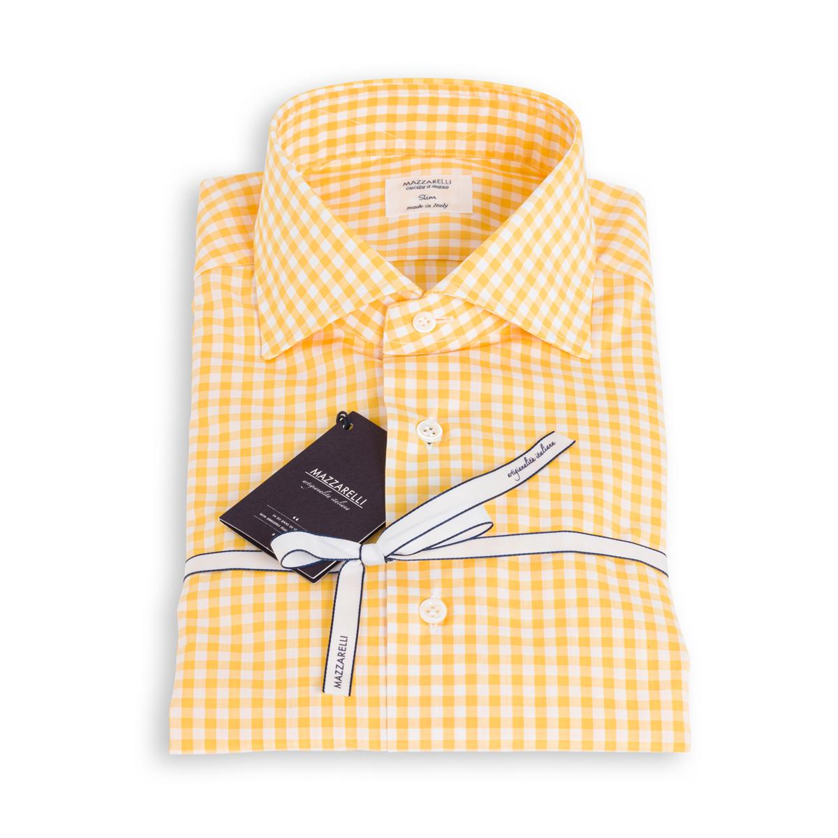 Camicia Mazzarelli Popeline Quadri Gialli