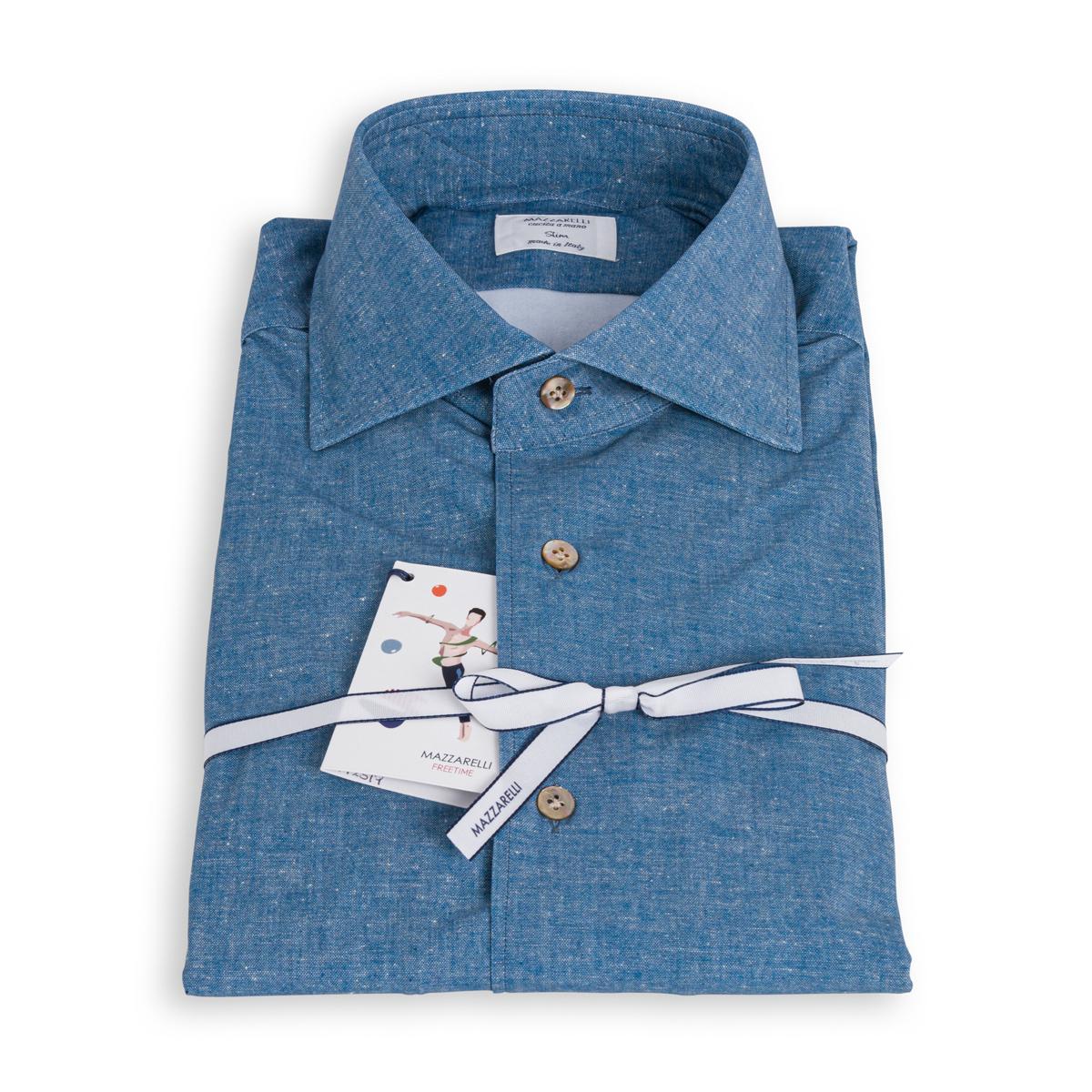 Camicia Mazzarelli Freetime Azzurro Denim Stretch