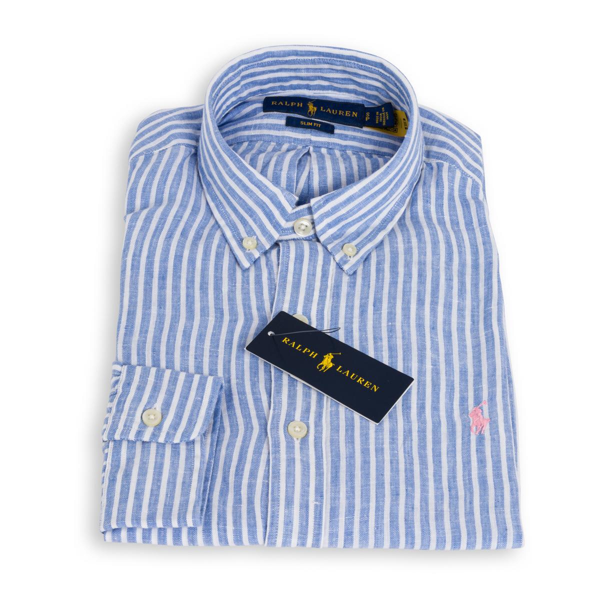 Camicia Polo Ralph Lauren Lino Rigato Bianco Azzurro