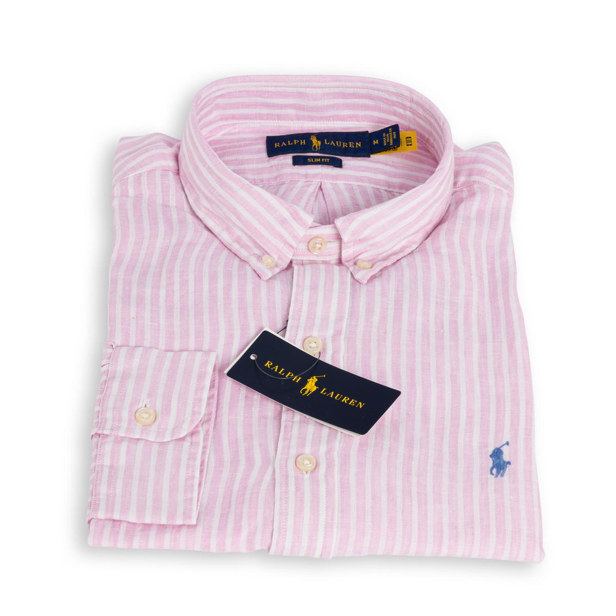 Camicia Polo Ralph Lauren Lino Rigato Bianco Rosa