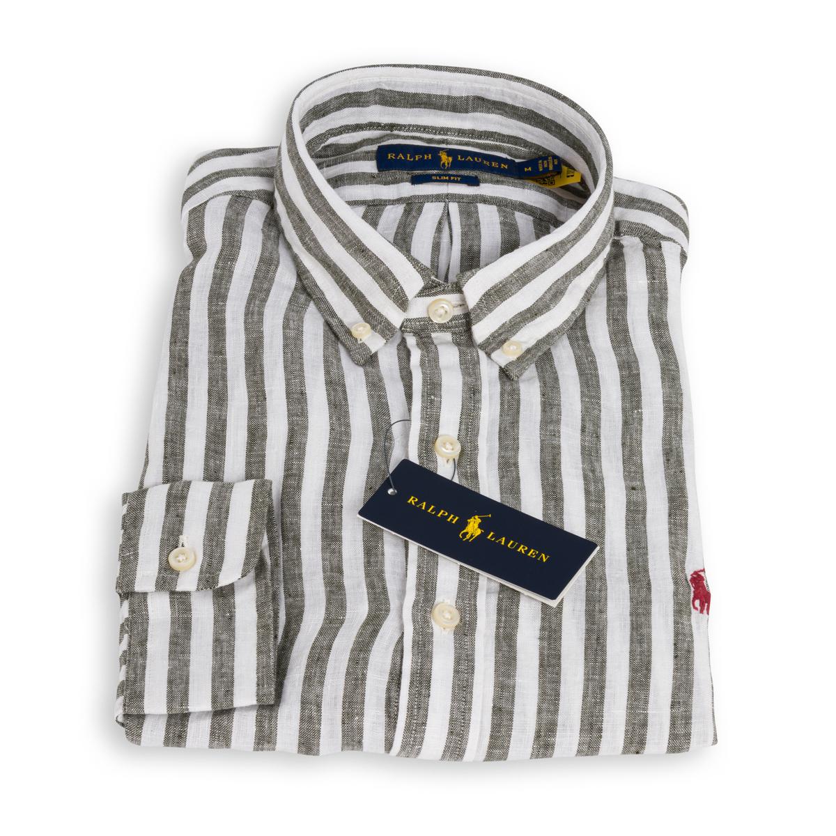 Camicia Polo Ralph Lauren Lino Rigato Bianco Verde