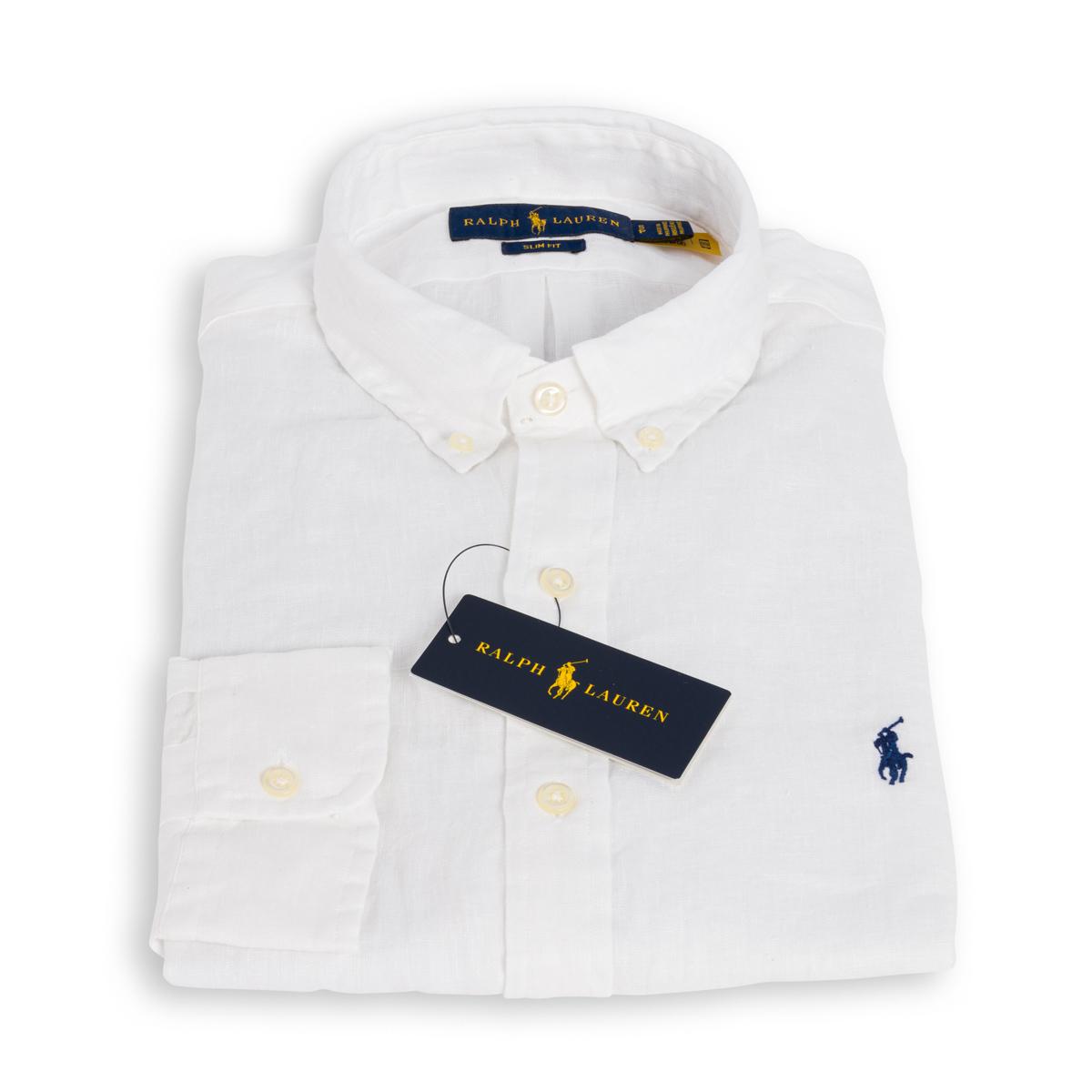 Camicia Polo Ralph Lauren Lino Bianco