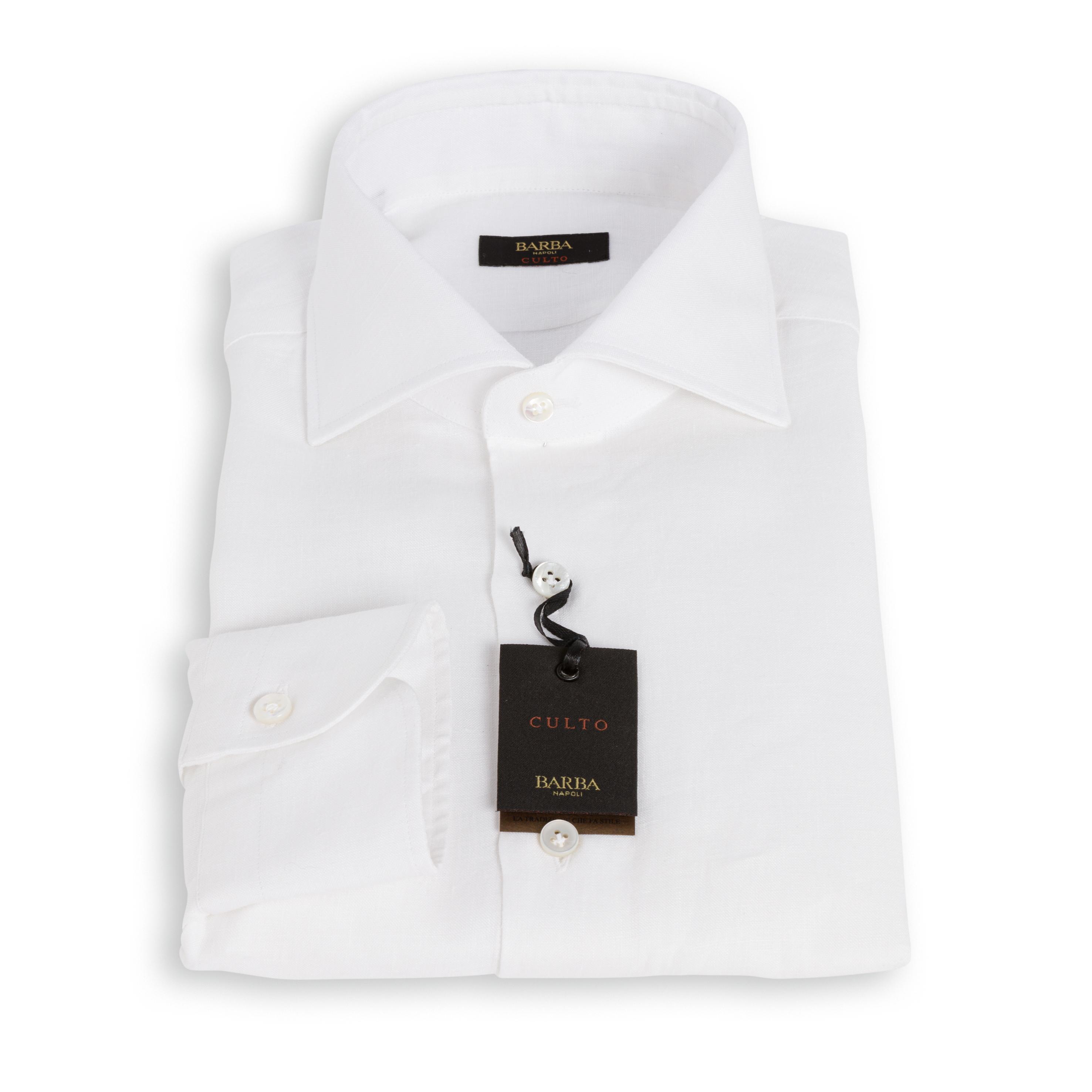 Camicia Barba Culto Lino Bianco
