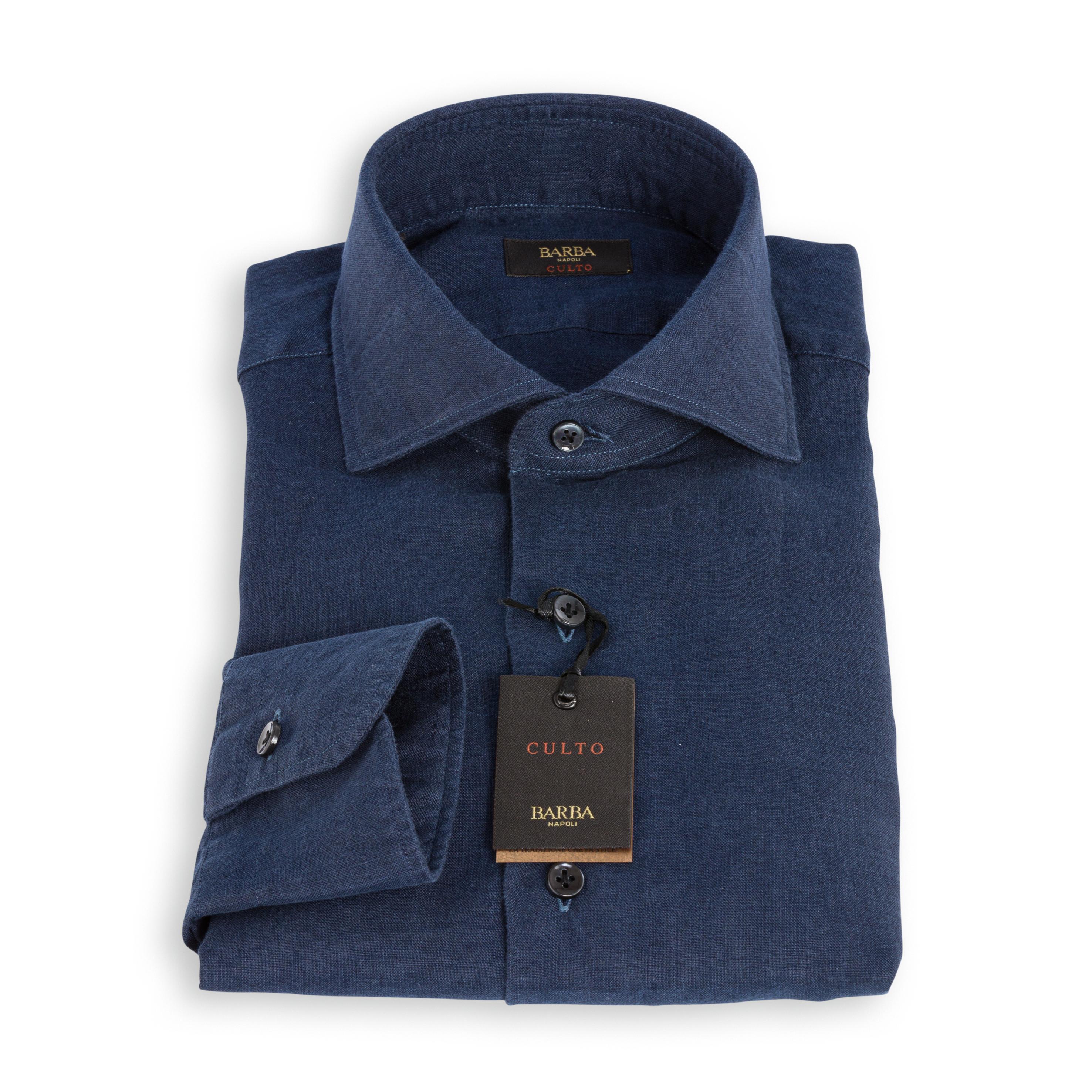 Camicia Barba Culto Lino Blu