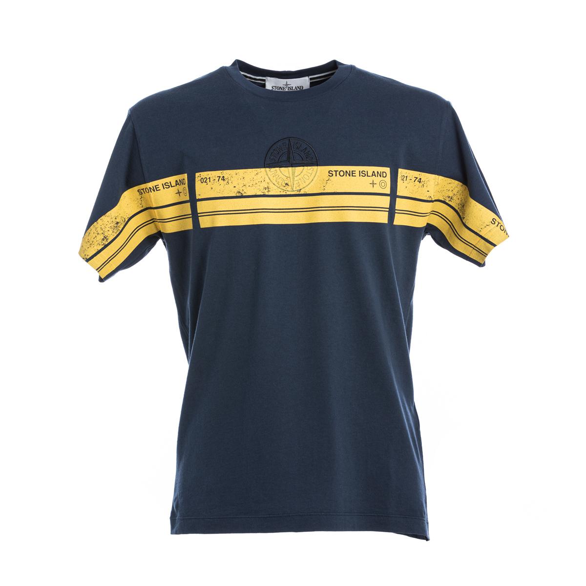 T-Shirt Stone Island Blu grafica gialla