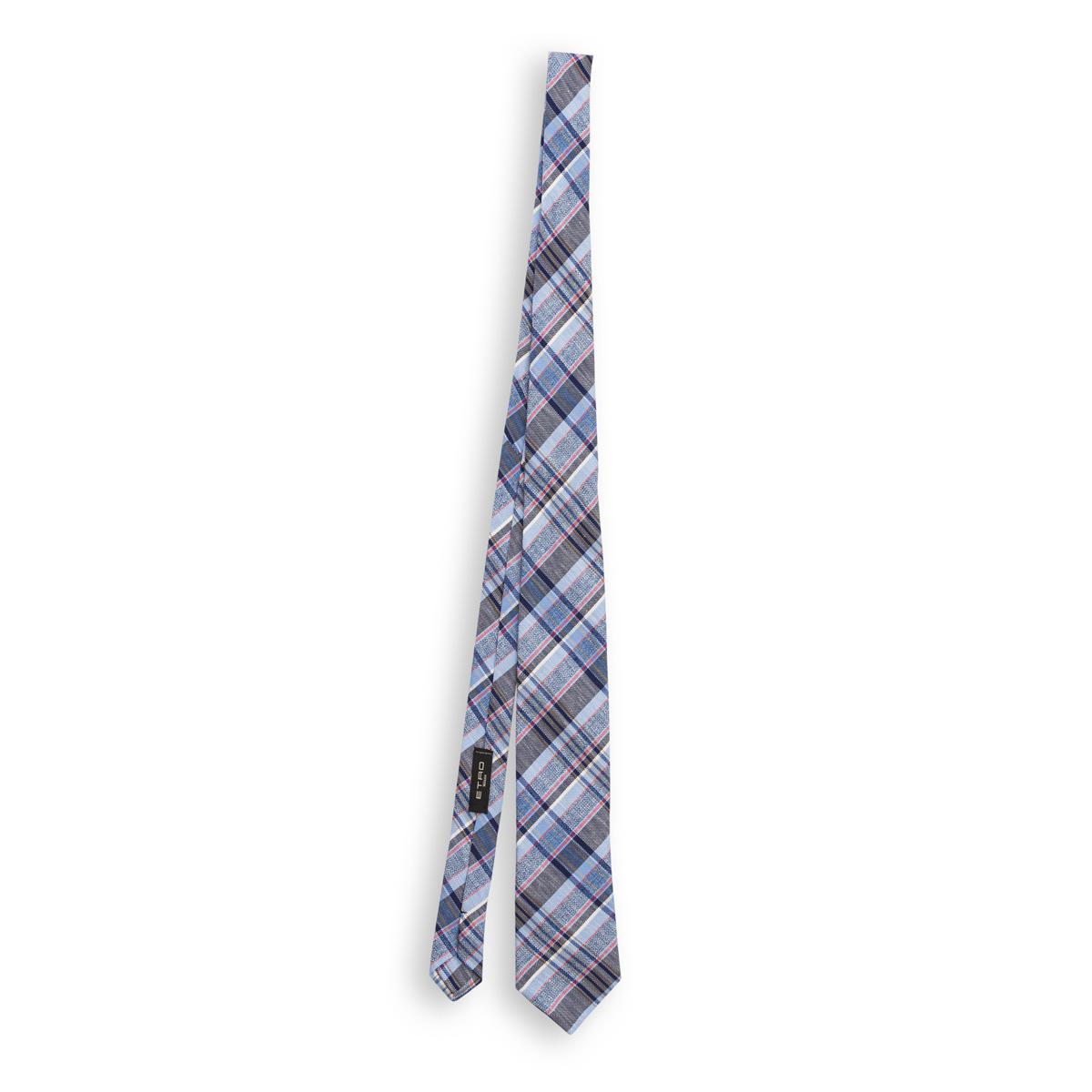 Cravatta Etro Quadri Azzurro