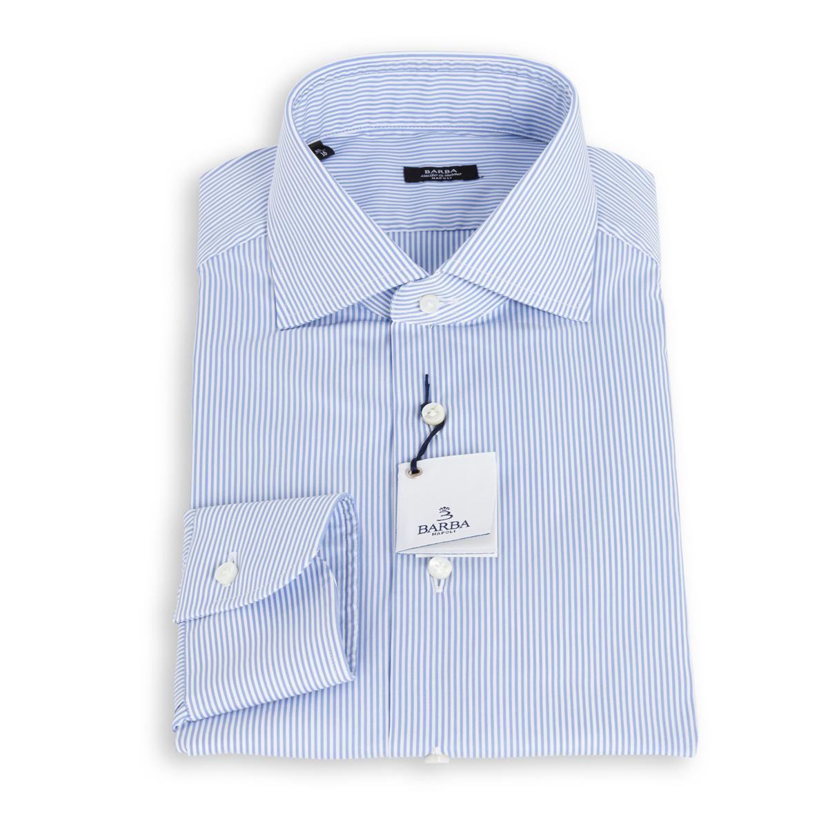 Camicia Barba Popeline Bastoncino Azzurro Stretch