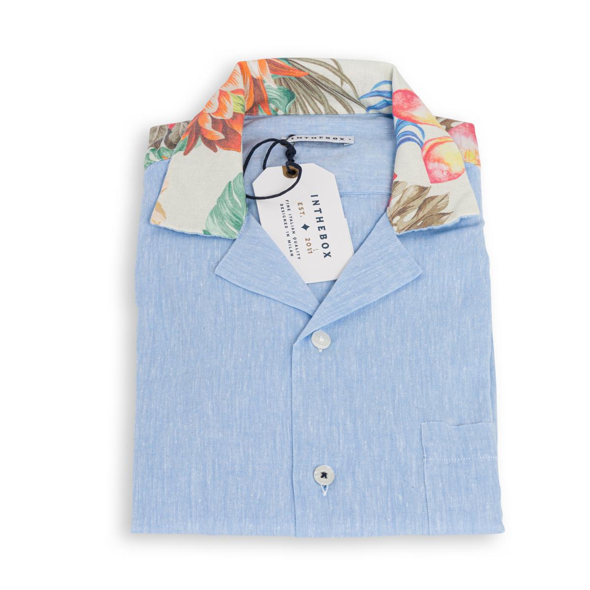 Camicia Lino Manica Corta In The Box Azzurra