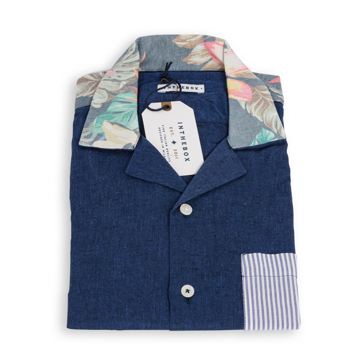 Camicia Lino Manica Corta In The Box Blu