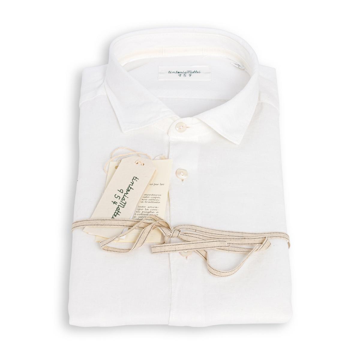 Camicia Tintoria Mattei Lino Bianca