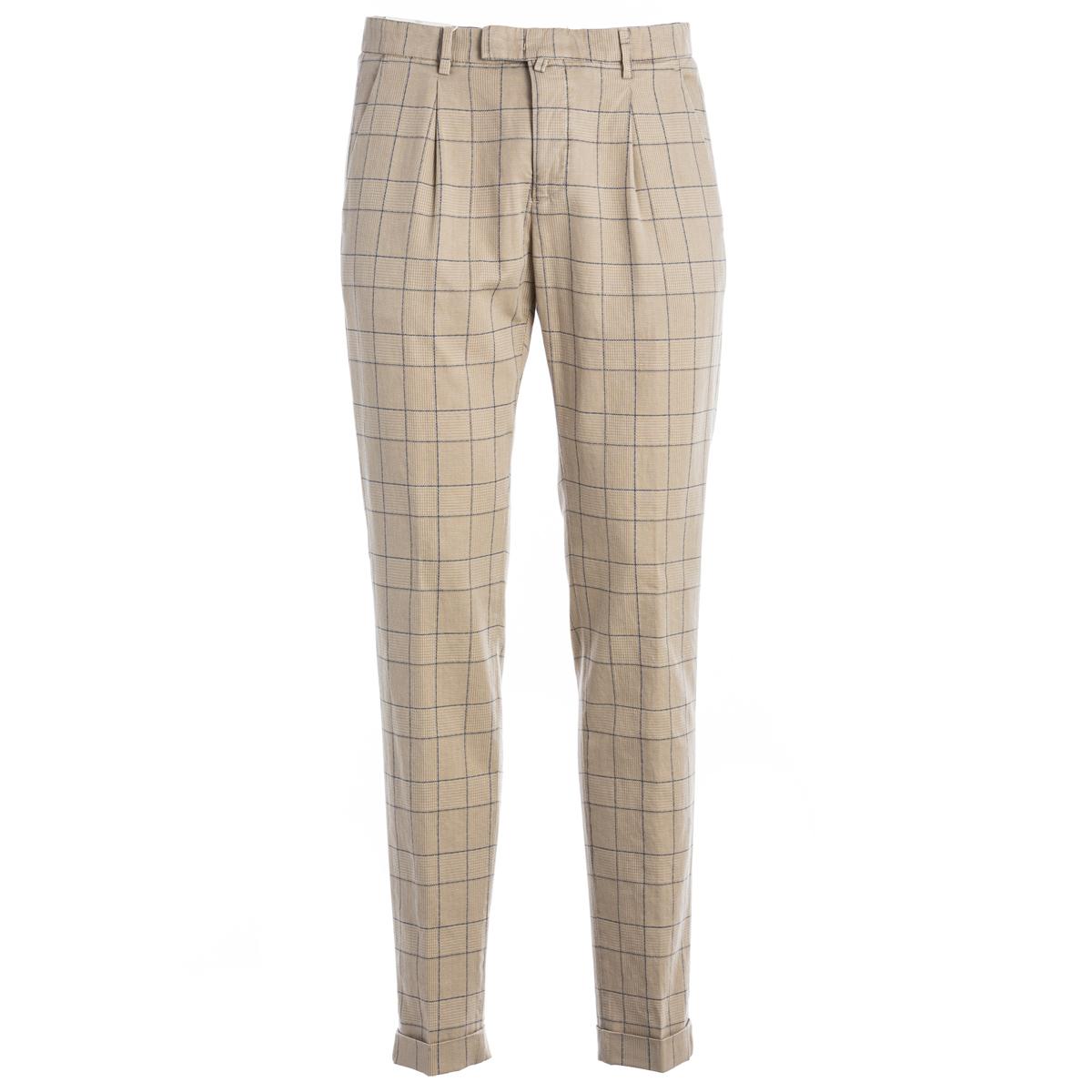 Pantalone Briglia colore baige e riquadri azzurri