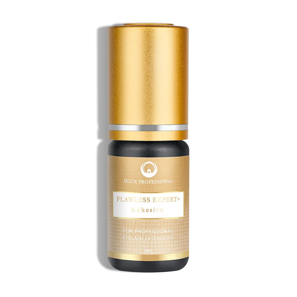 Colla per Extension Ciglia Flawless Expert+ Trasparente, Asciugatura Rapida (2-3 sec), Lunga Durata (5-7 sett.), Dlux Professional , 5 ml