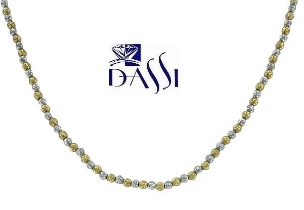 Girocollo in oro bicolore 18kt vuoto pallinato con sfere diamantate