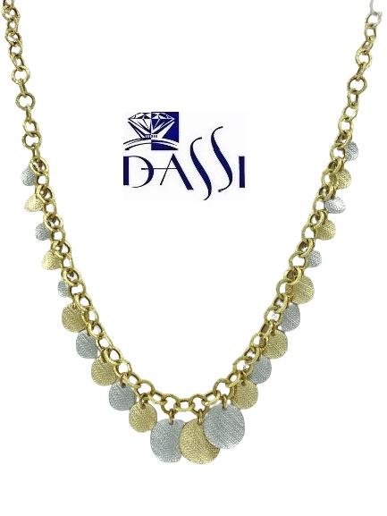 Girocollo in oro bicolore 18kt massiccio con catena rolò incisa e diamantata