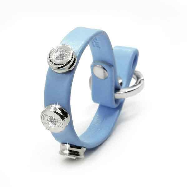 Bracciale in pelle azzurro basic finitura argento con brillanti