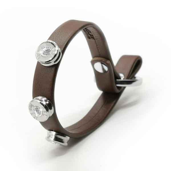 Bracciale in pelle dark brown basic finitura argento con brillanti