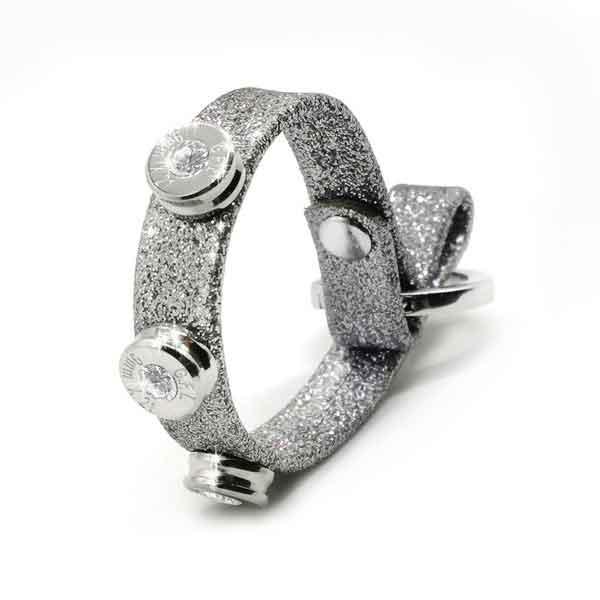 Bracciale in pelle argento glitter finitura argento con brillanti