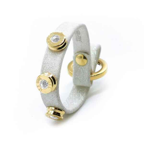 Bracciale in pelle bianco glitter finitura oro con brillanti