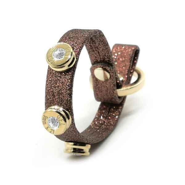 Bracciale in pelle brown glitter finitura oro con brillanti