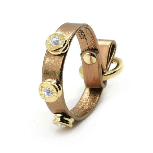 Bracciale in pelle bronze laminato finitura oro con brillanti