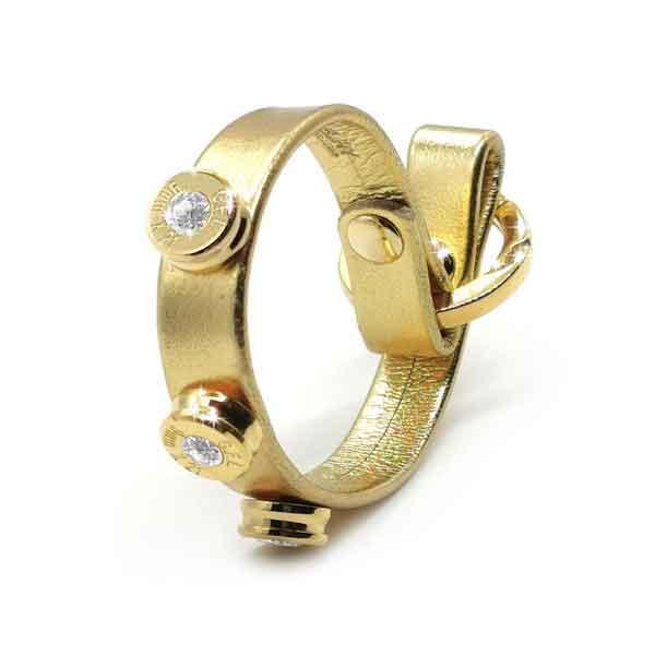 Bracciale in pelle oro laminato finitura oro con brillanti