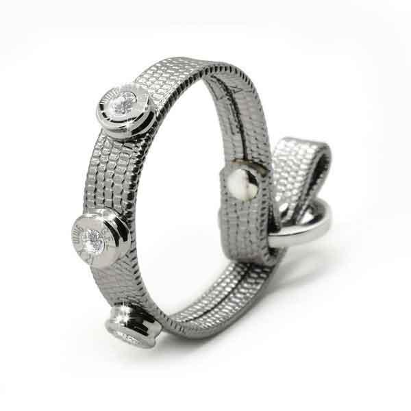 Bracciale in pelle argento lizzy finitura argento con brillanti