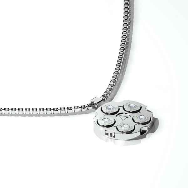 Collana in acciaio con pendente argento, brillanti centrali e catena a maglie