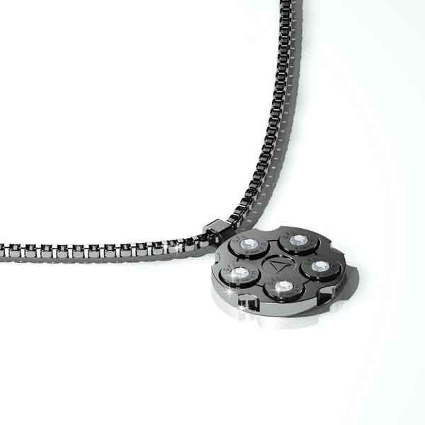 Collana in acciaio con pendente color canna di fucile, brillanti centrali e catena a maglie