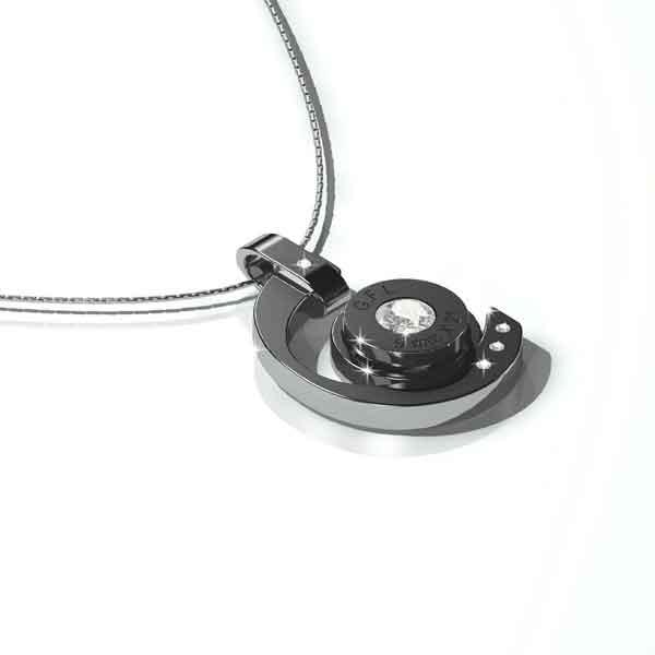 Collana in acciaio con pendente color canna di fucile, gemma centrale e catenina in argento